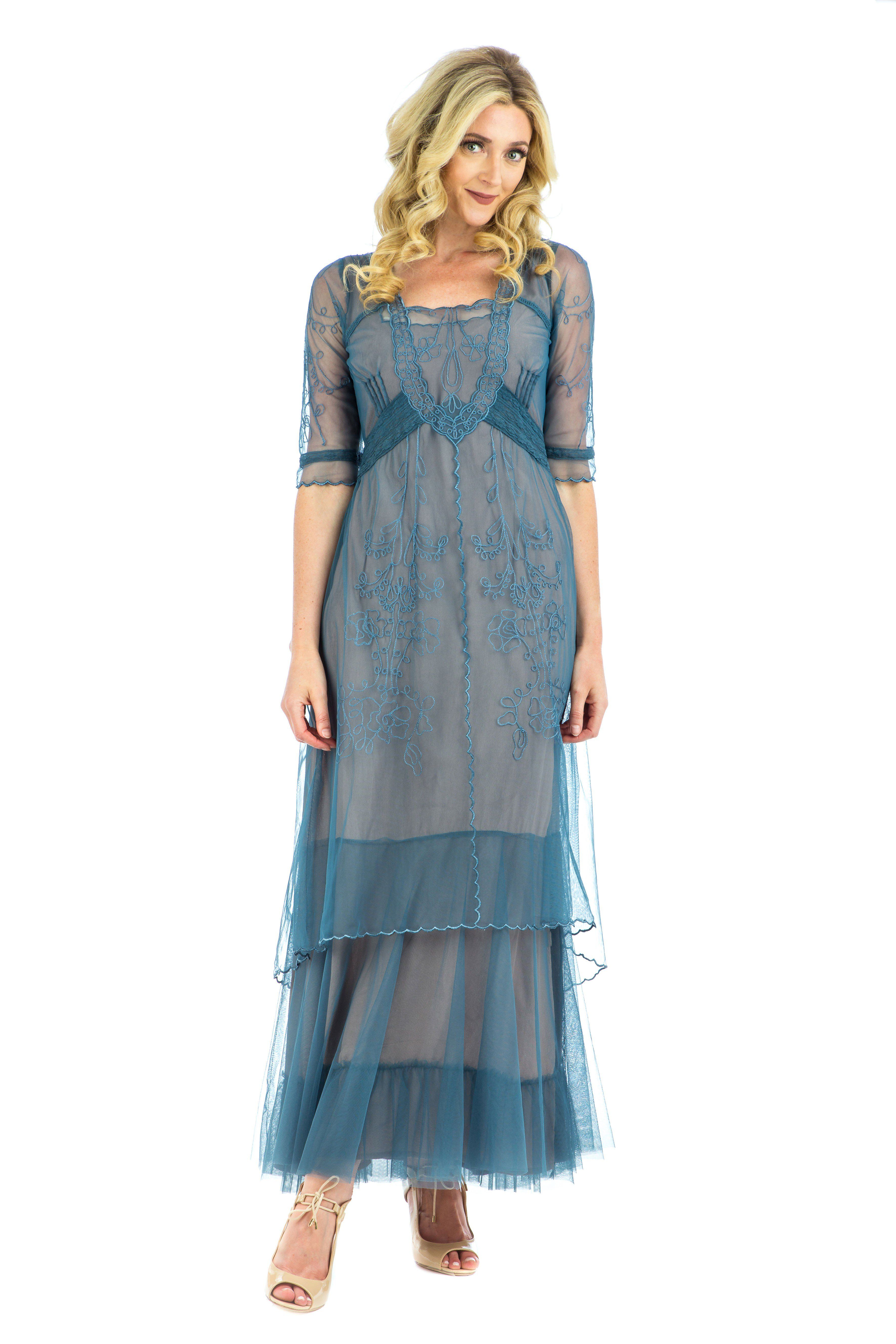 Victorian blue style dresses for sale photo