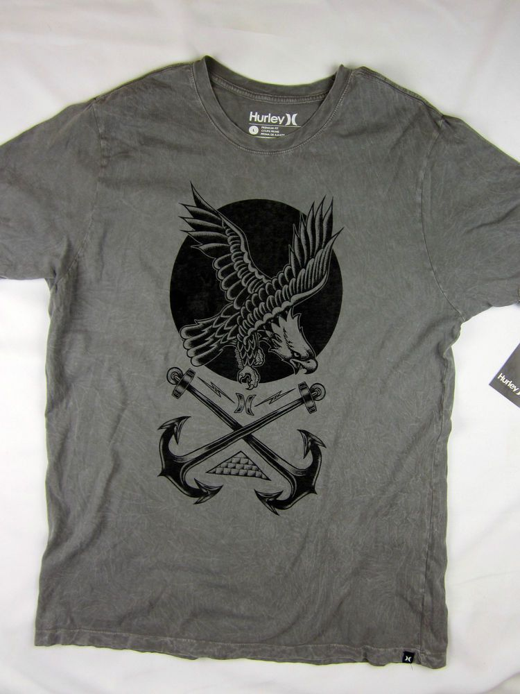 Hurley Surf skate Premium fit men's T-shirt gray size LARGE #hurley #GraphicTee