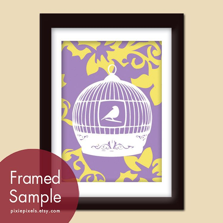 antique bird cage b 5x7 art print imperial violet by pixiepixels ...