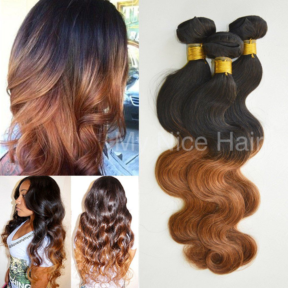 My Nice Hair 3 Bundles 14 16 18 Inches Grade 5a Brazilian Ombre 1b30 Human Remy Hair Extensions Weave Body Wav Hair Styles Remy Hair Extensions Cool Hairstyles
