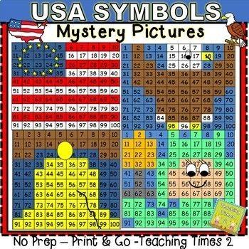 USA Symbols Hundreds Chart Hidden Pictures | Hundreds ...