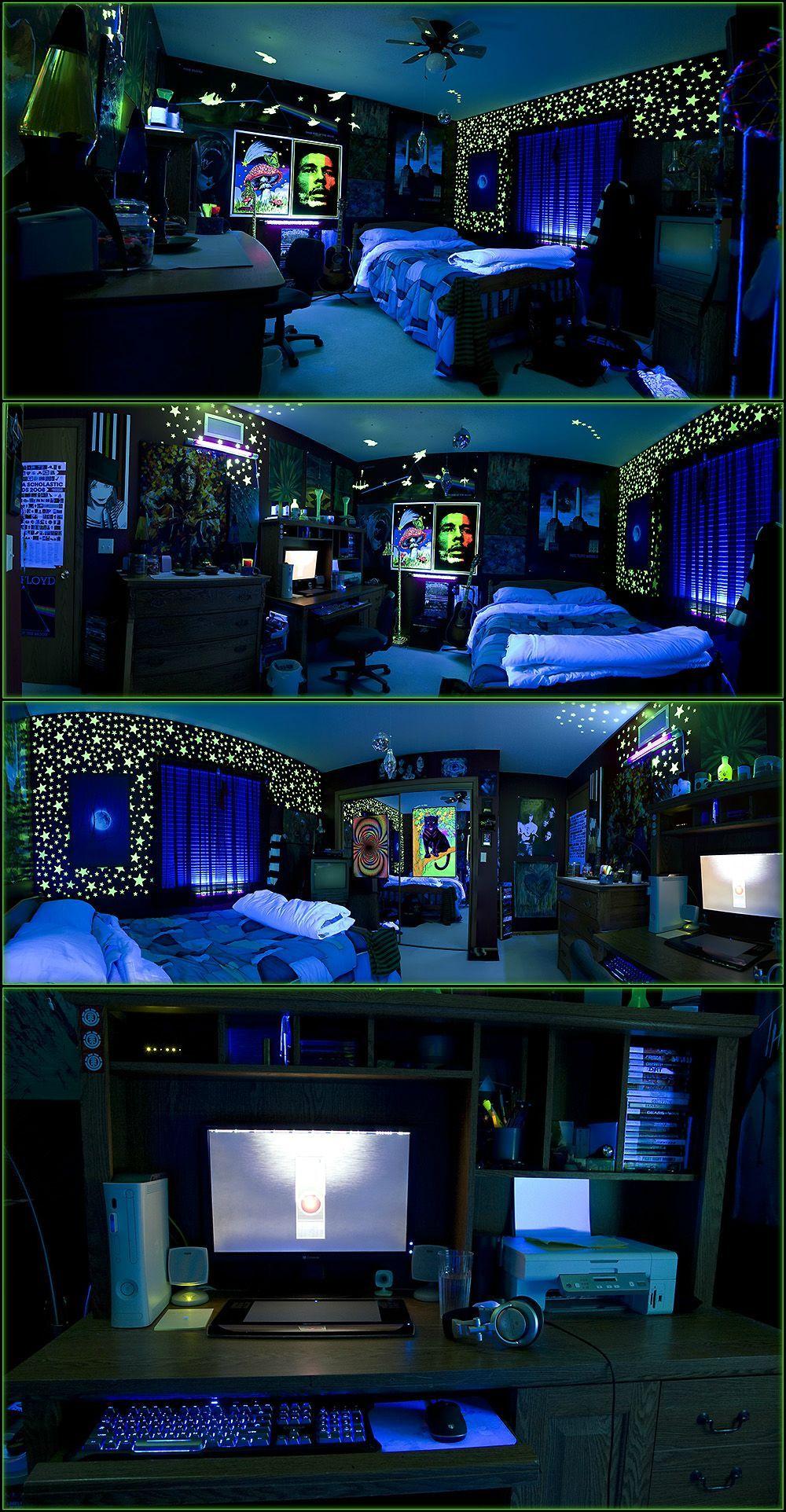 black blue lit cool stoner room
