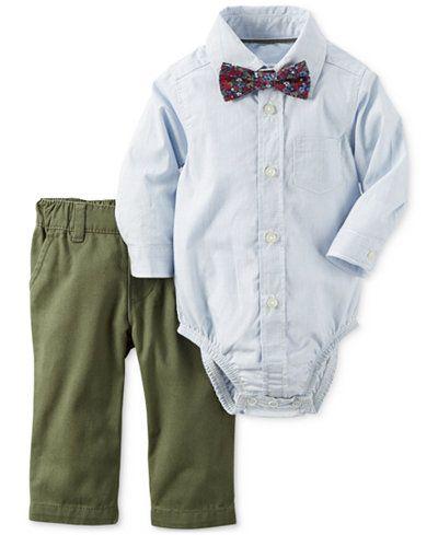 42c1e3a5f Carter's 2-Pc. Shirt-Bodysuit with Bowtie & Pants Set, Baby Boys (0-24  months)
