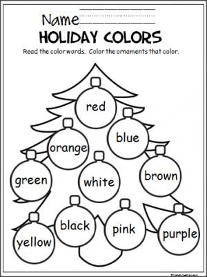 free christmas coloring activity to help pre k and kindergarten students learn the colors great december activity