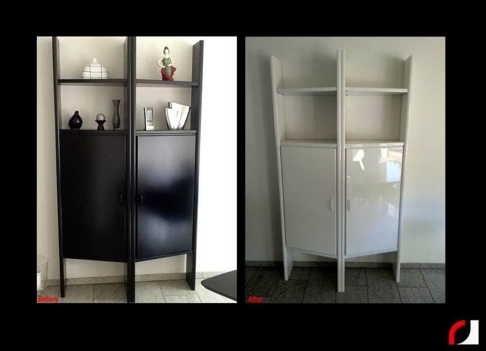 Hoogglans Witte Servieskast.Zwarte Kast In Hoogglans Wit Gespoten Kast Kasten Renoveren