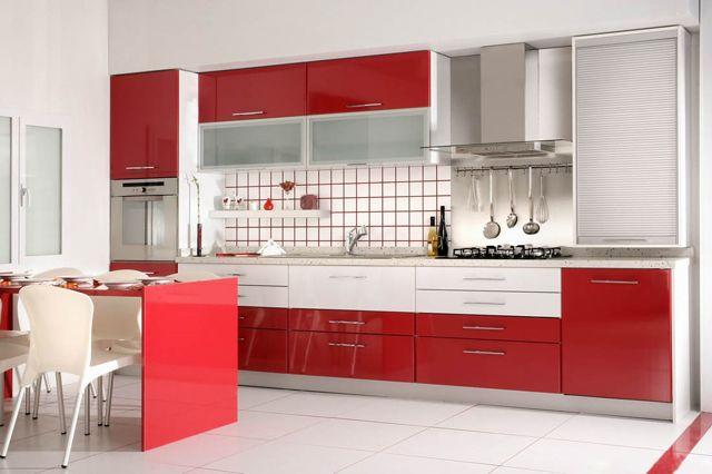 cuisine moderne en rouge et blanc