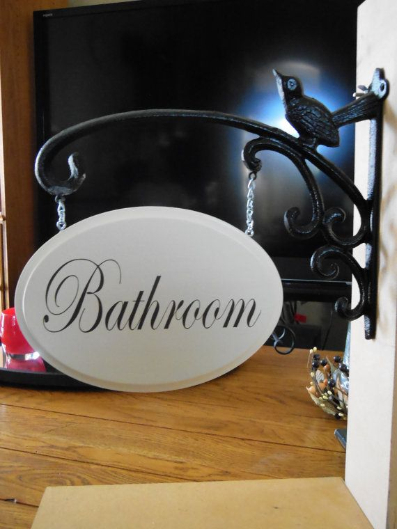 Hanging Bathroom Sign Handmade Signs