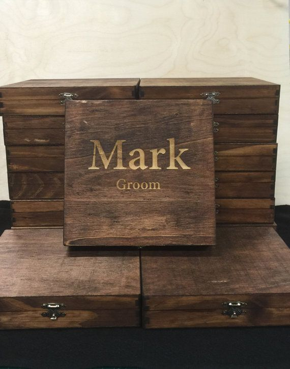 Custom Cigar Box, Groomsmen Best Man Personalized Gift, Natural Wood Engraved Name, Unique Rustic Bridal Favor, Men's Gift Box, Memory Box