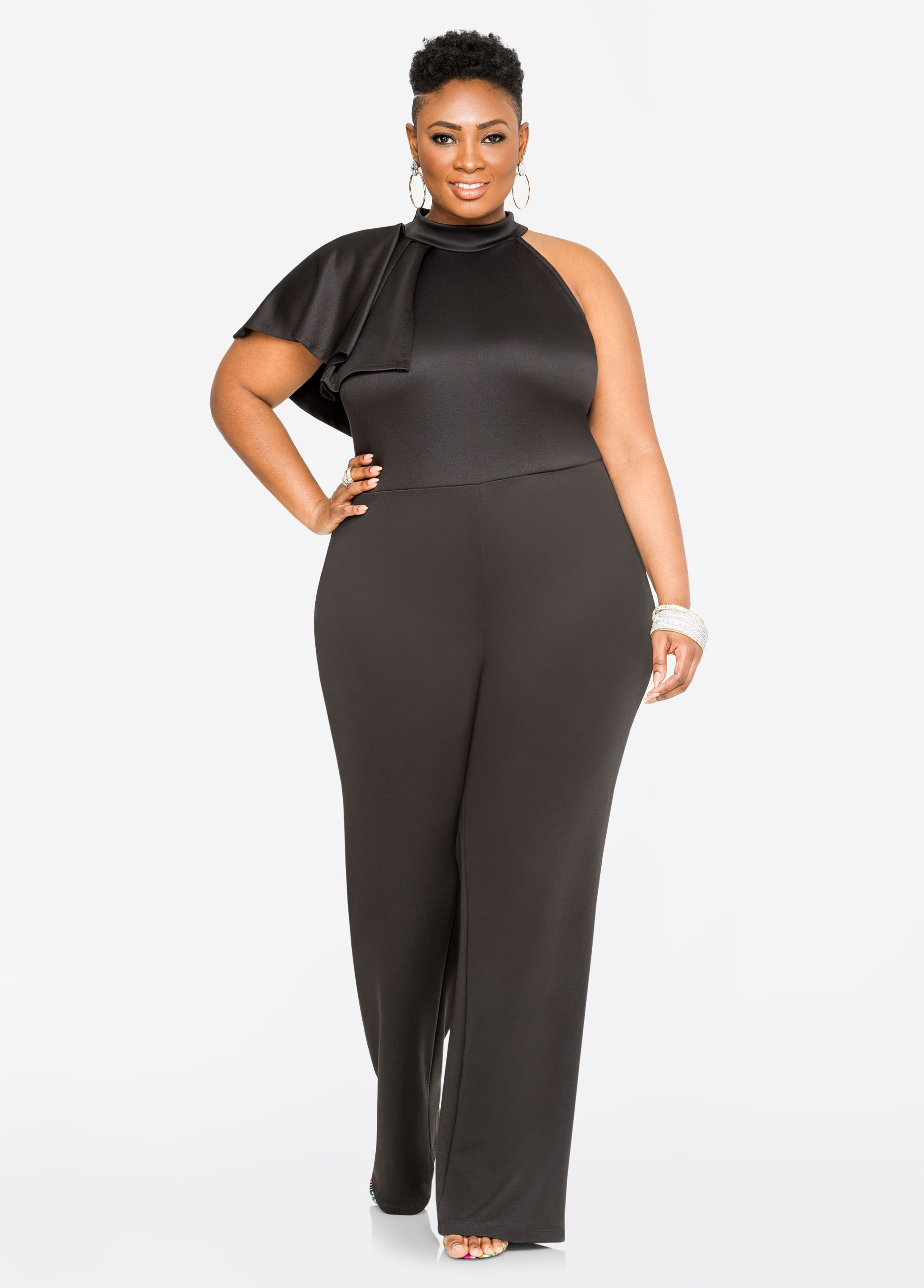 95c6afe22523 Fashion Bug Ruffle Mock Neck Jumpsuit  FashionBug  PlusSize  Jumpsuits  www.fashionbug.us