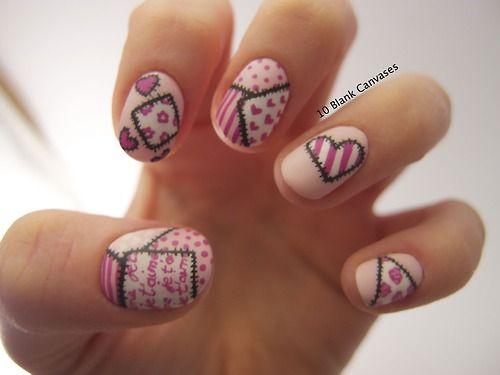 valentines patchwork nails