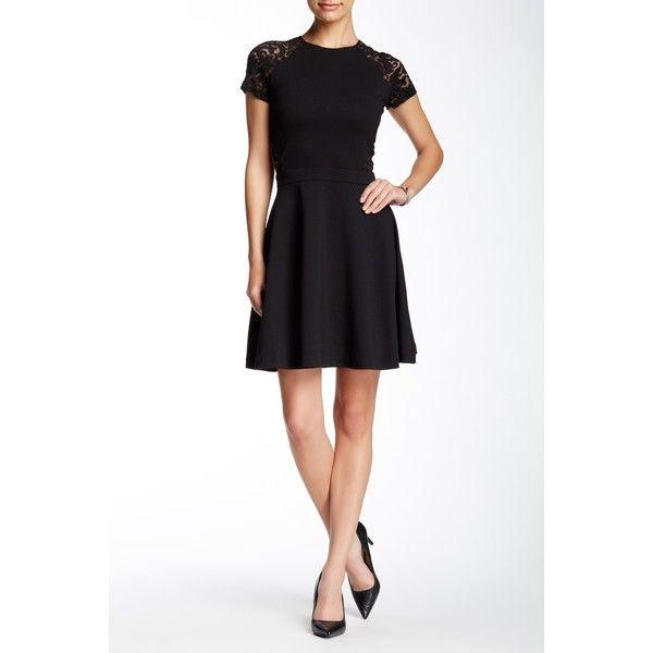 Parker Anabella Combo Dress ($80) ❤ liked on Polyvore featuring dresses, black, raglan dress, short flared dresses, short dresses, lace sleeve dress and lacy dress