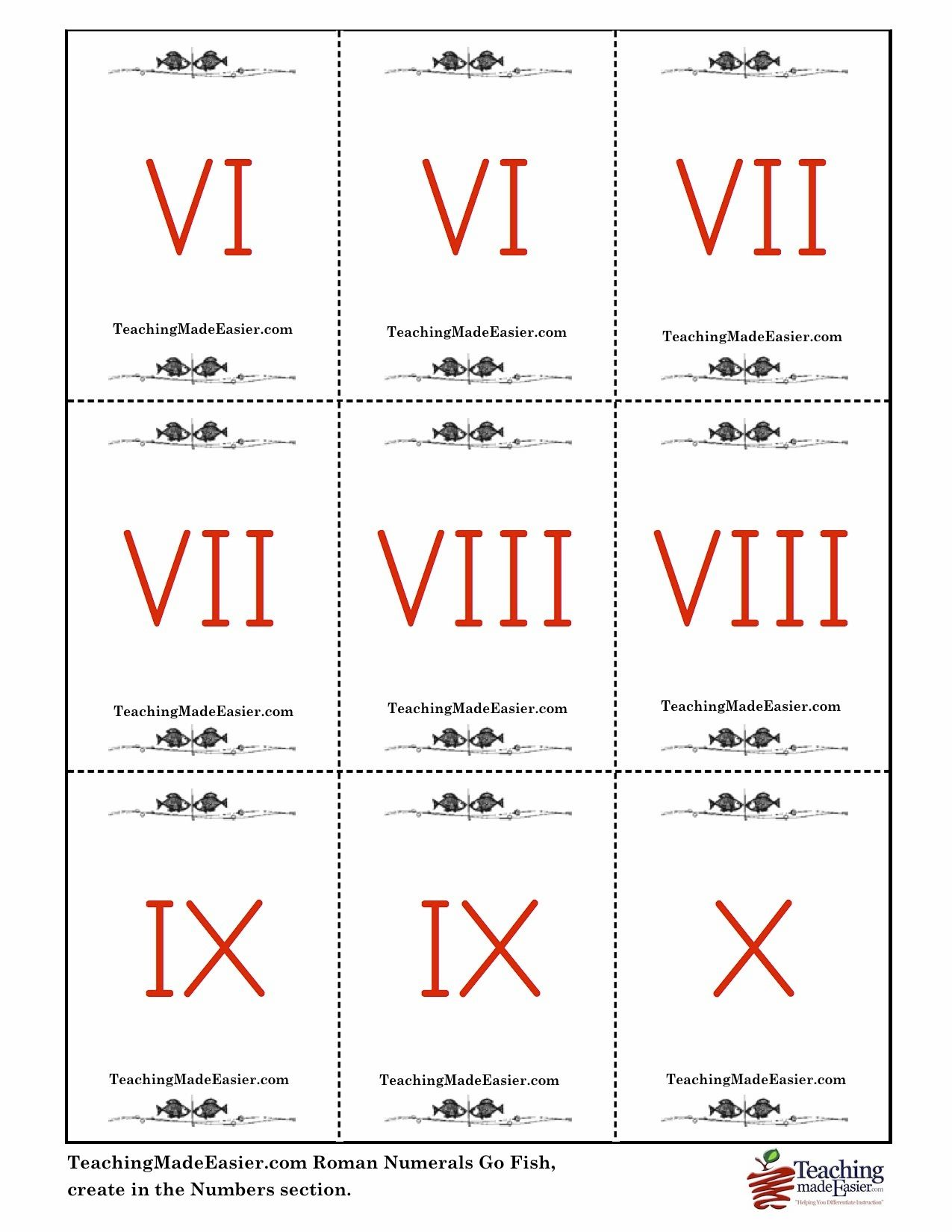 Create Roman Numerals Go Fish In Teachingmadeeasier S Numbers Section