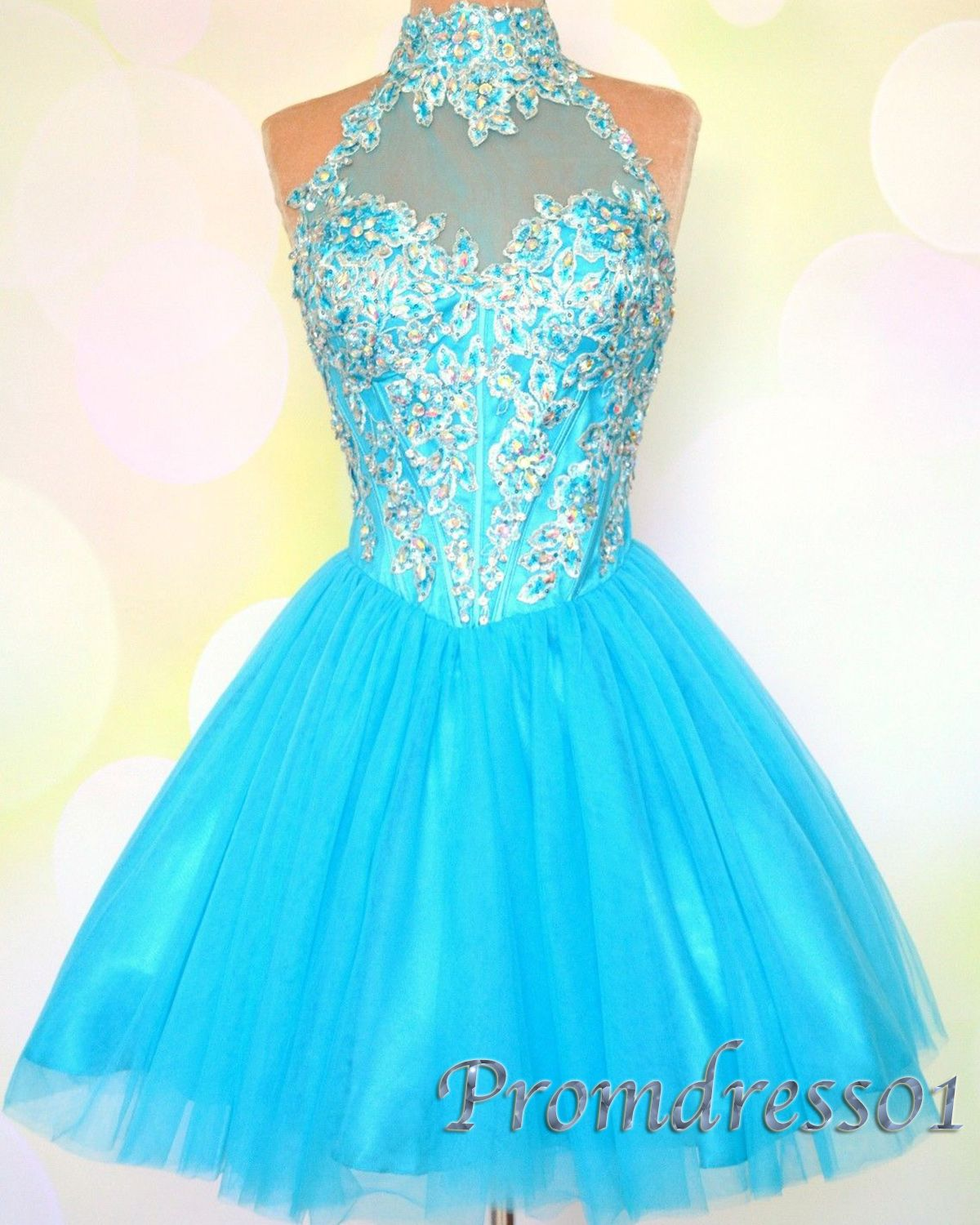 2015 cute sparkly blue short open back prom dress for teens, ball ...