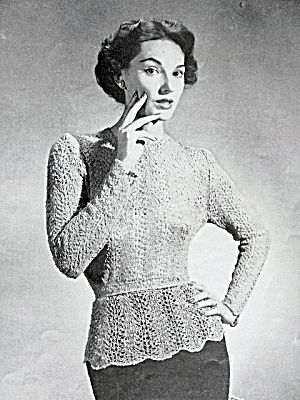 50s Vintage Knitting Crochet Pattern Lacey Over Blouse Image1