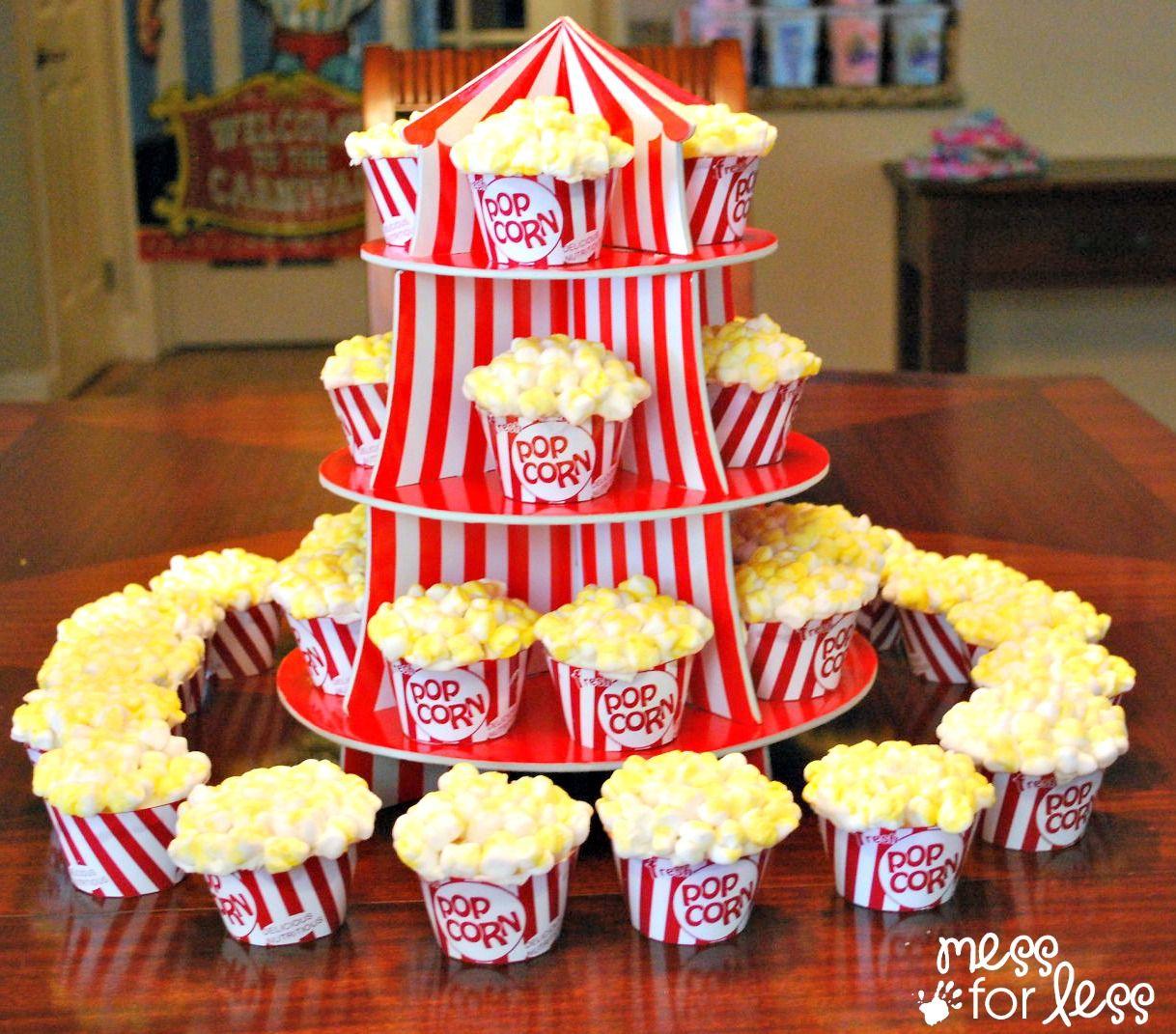 circus popcorn cupcakes and circus party ideas popcorn cupcakes