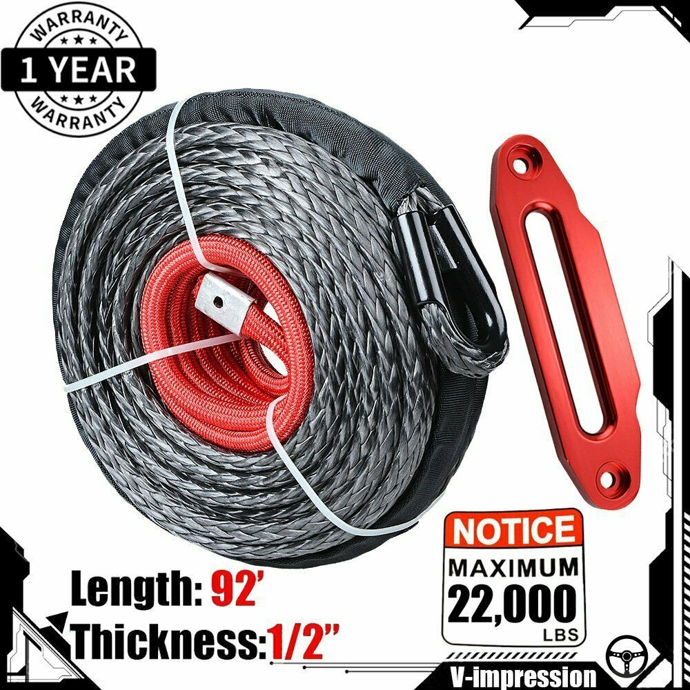 Ebay Sponsored 92 1 2 22000lbs Synthetic Winch Rope Cable Lead Guide Red Hawse Fairlead Synthetic Winch Rope Winch Rope Winch