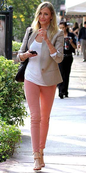 Melon pink jeans