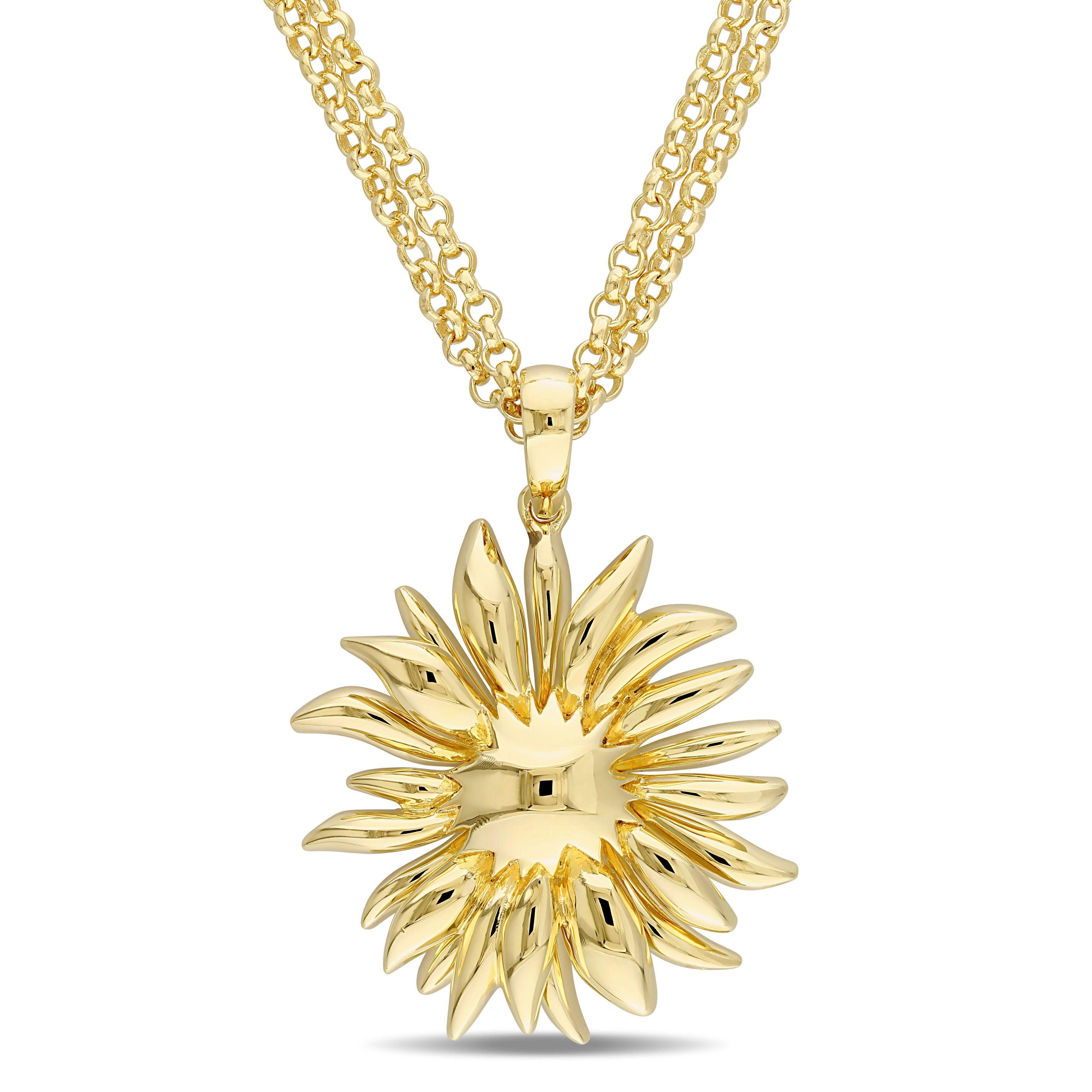 Versace 19.69 Abbigliamento Sportivo SRL Logo Flower Necklace in 18K Gold Plated Sterling Silver, Women's