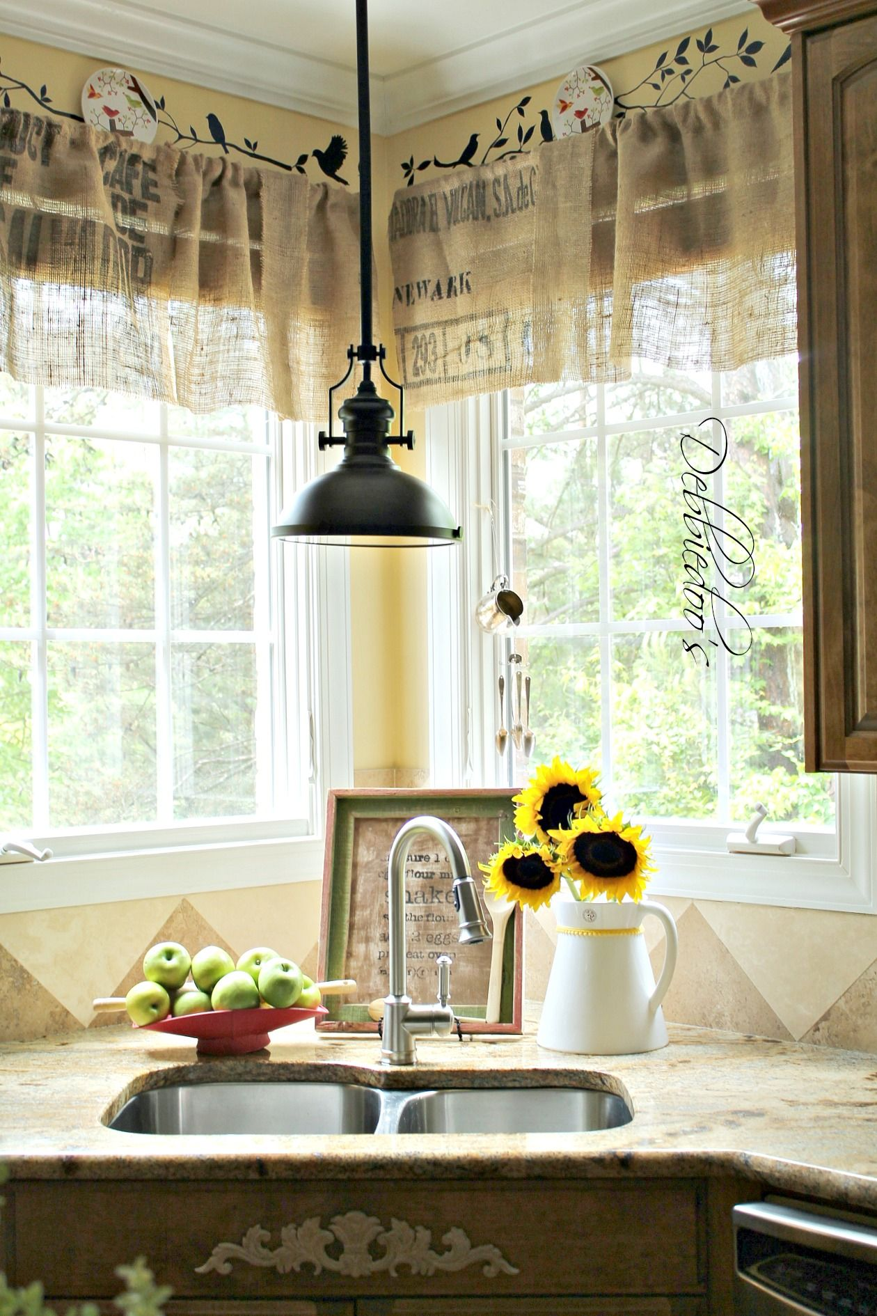 Diy No Sew Burlap Kitchen Valances Made From Coffee Bags Debbiedoo S Burlap Kitchen Kitchen Valances Decor