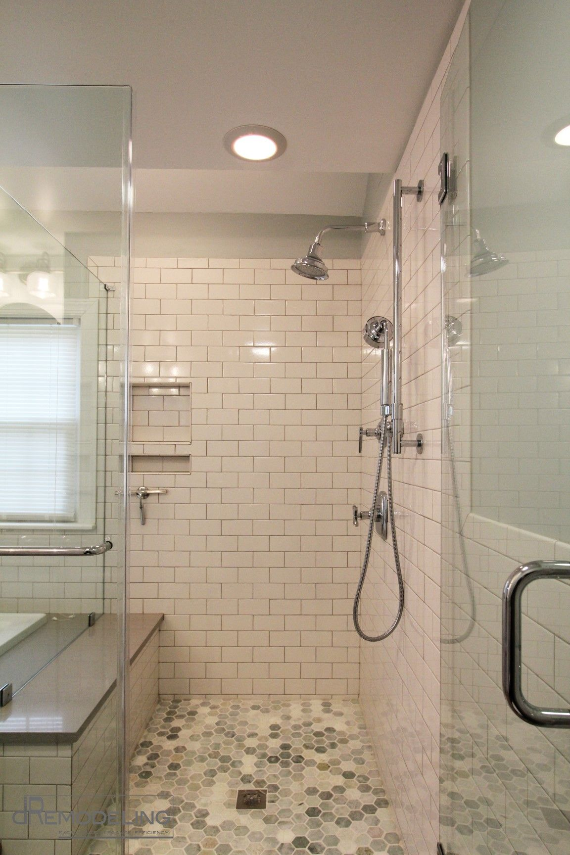 Fabulous bathroom walkin shower white subway tile about for Modern subway tile bathroom designs