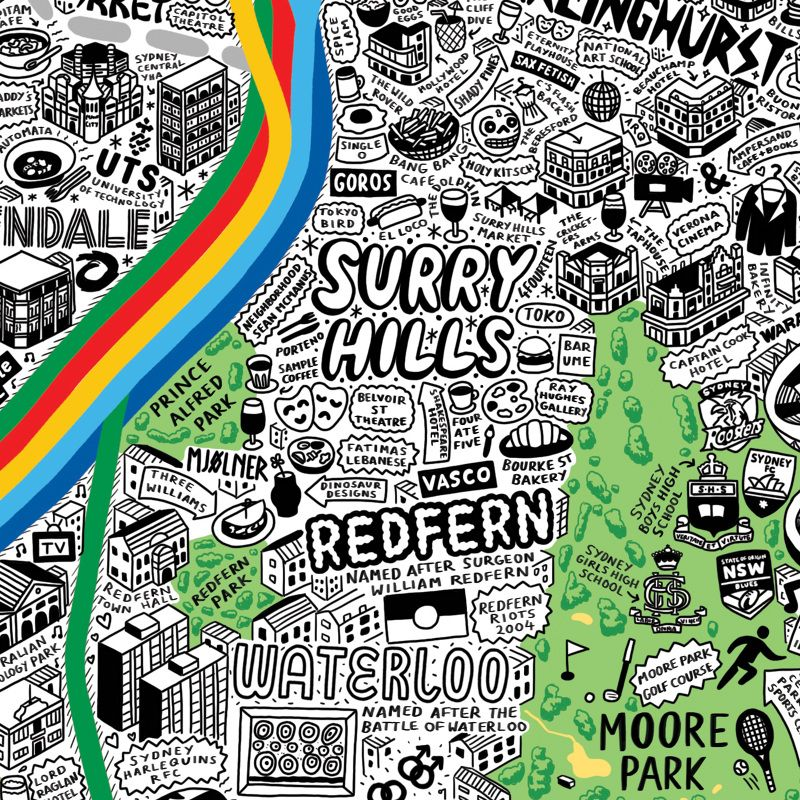 Map Of Australia And Surrounding Areas.Hand Drawn Map Of Redfern And The Surrounding Area Sydney By