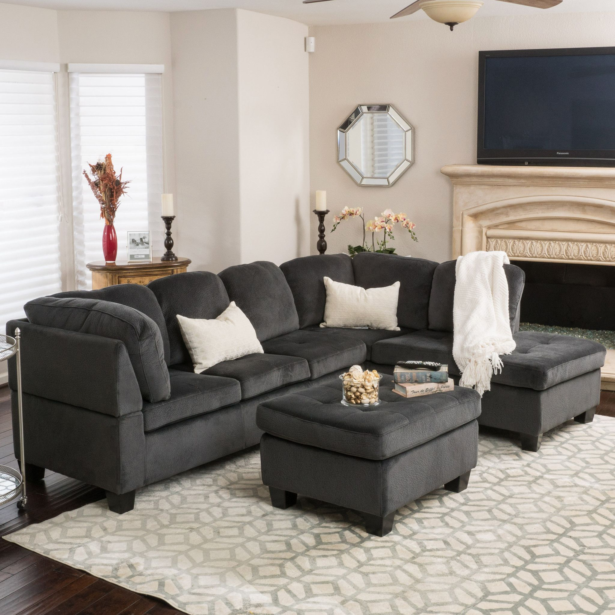Best Gotham 3 Piece Charcoal Fabric Sectional Sofa Set 3 640 x 480