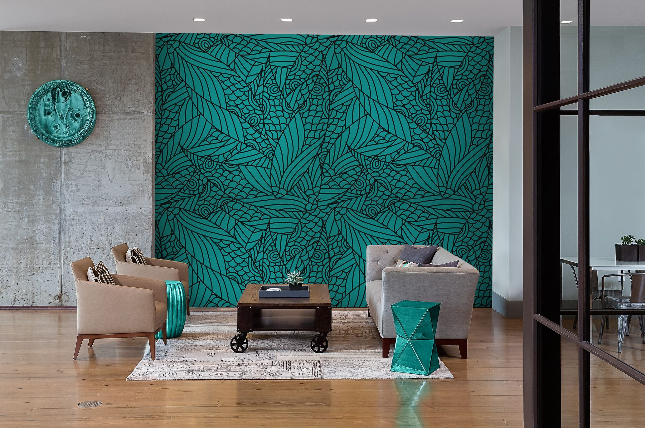 Underwater green • Vintage – Living room – Wall Murals – Flowers and plants – Black and white • Pixers® • We live to change