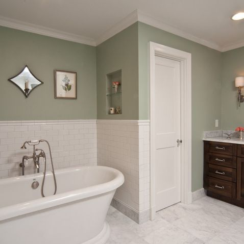 amusing sage green white bathroom   Guilford Green and white in 2019   Bathroom colors ...