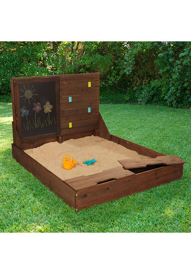 Kid Kraft Activity Sandbox In Brown 00517 Backyard