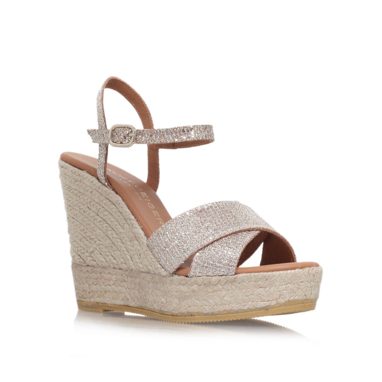 Footwear · amerie peach high heel wedge sandals from Kurt Geiger London