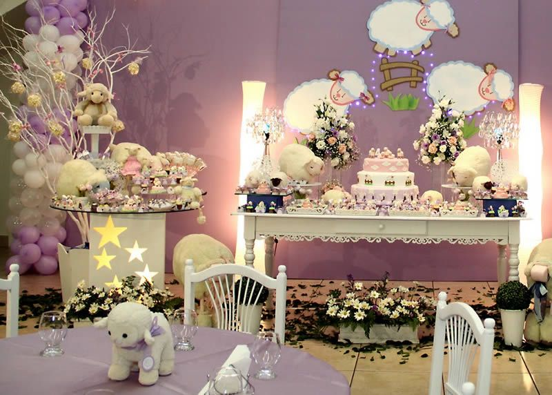 Sheep theme birthday party celebration inspiration - Unique girl baby shower themes ...