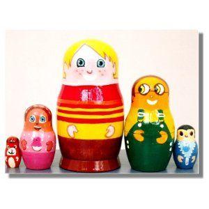 "Matryoshka Stac Bestpysanky 5.5/"" Set Of 6 Semenov Wooden Russian Nesting Dolls"
