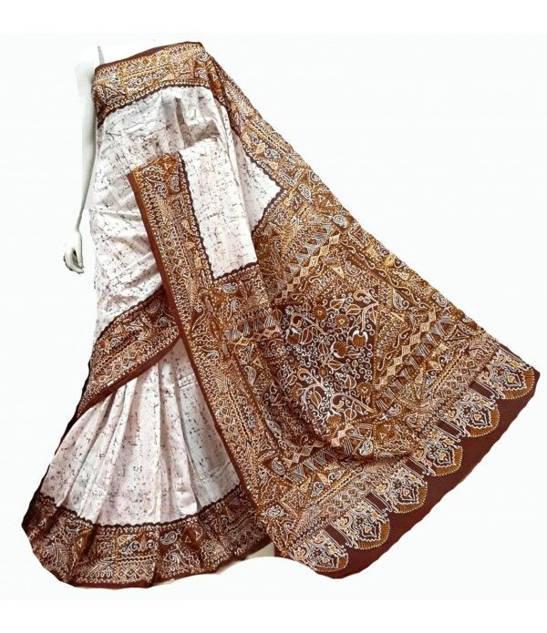 White & Brown Hand Batik Pure Silk Saree