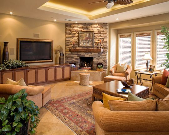 Warm Tones Living Room Ideas: Warm Earth Tones With Custom Ceiling, Stone Fireplace