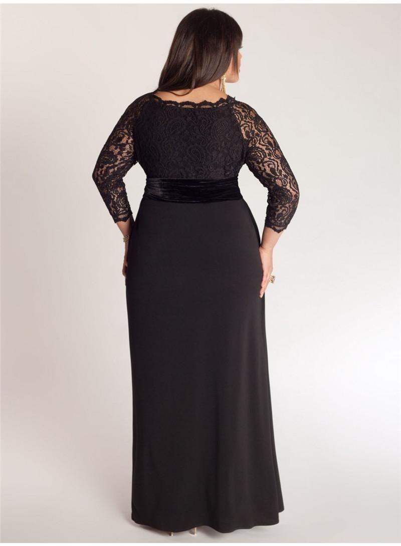 052f617c025 Elegant A-Line Plus Size Special Occasion Dresses Lace Top Sash Off-Shoulder  V-Neck 3 4 Long Sleeve Ankle-Length Ladies Formal Prom Gowns