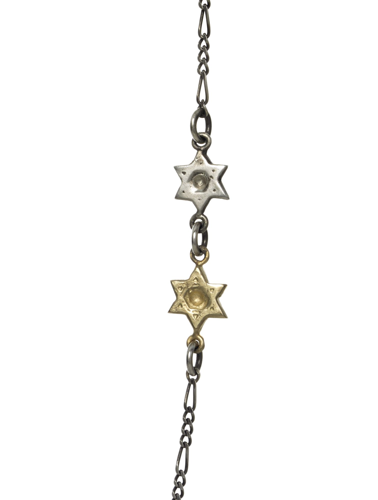 Double Floating Stars of David in s/s & 14k yellow gold