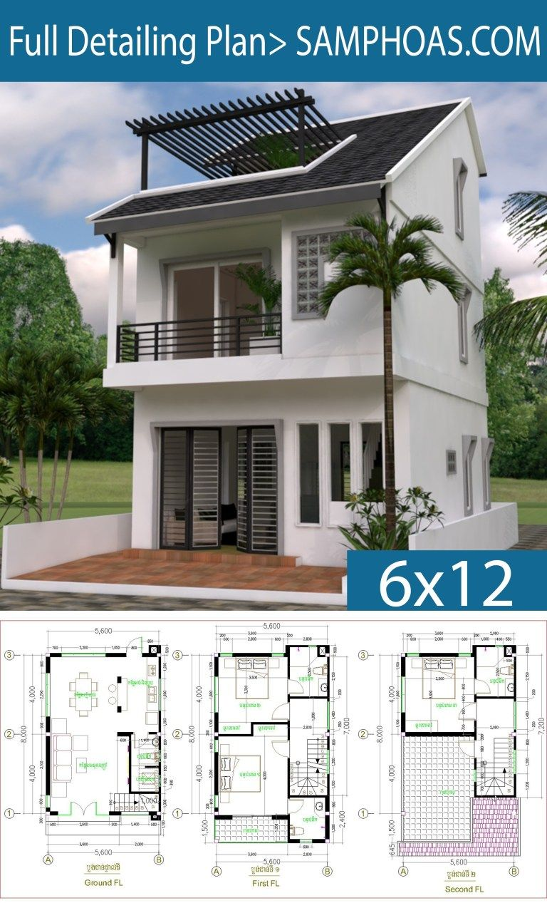Tiny House 5 6 8m Drawing From 2d And 3d Samphoas Plan Narrow House Plans Bungalow House Design House Blueprints