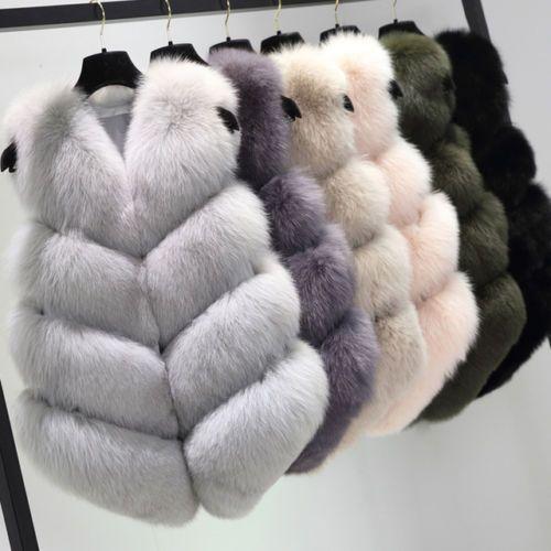 Women Warm Gilet Outwear Short Vest Genuine Fox Fur Waistcoat Jacket Coat V0115
