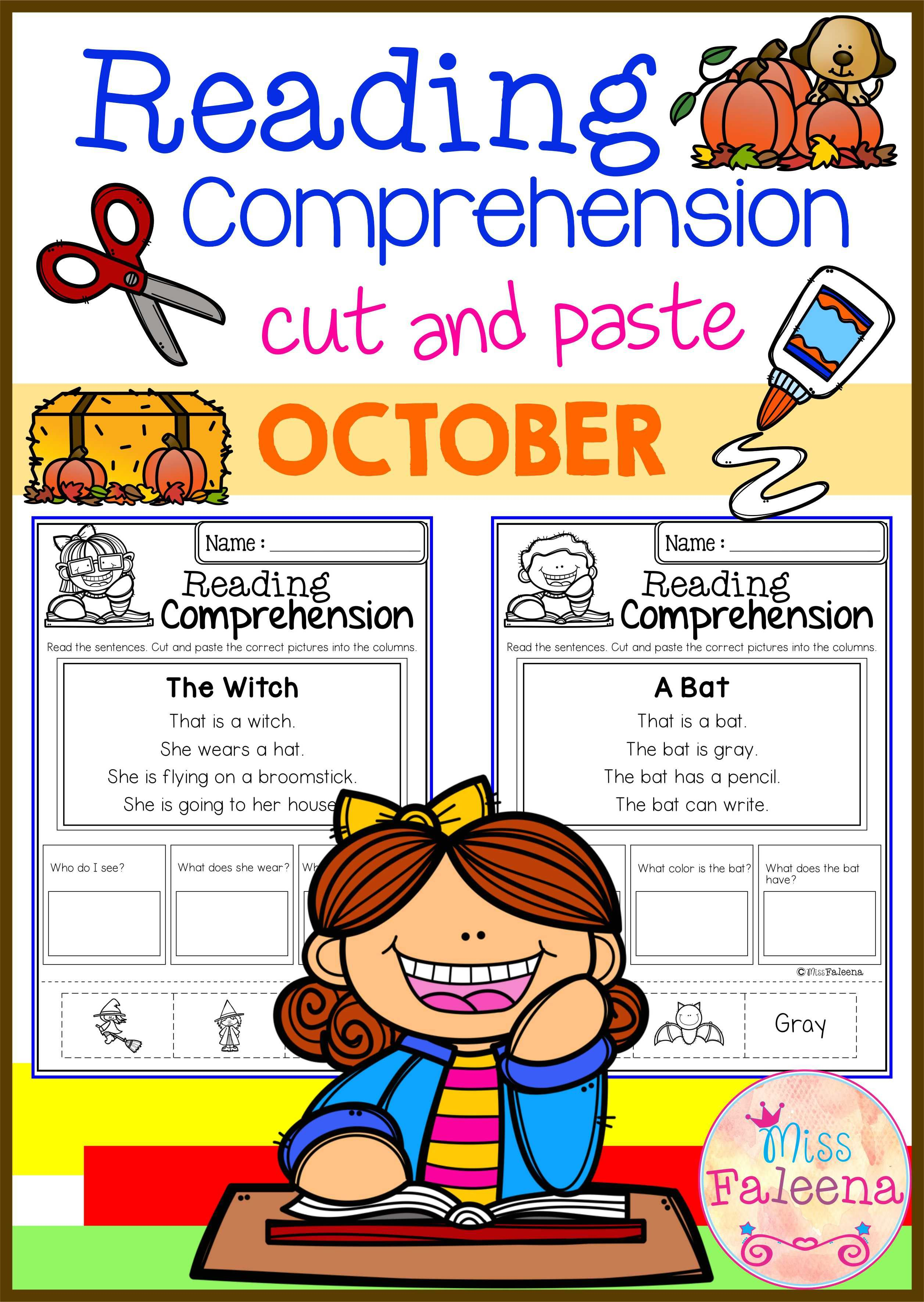 October Reading Comprehension Cut And Paste