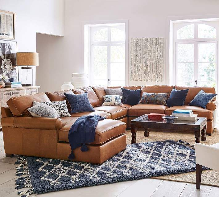 Pottery Barn Townsend Roll Arm Leather 4 Piece Chaise Sectional Layered Rugs Leather Sectional Living Room Farm House Living Room Couches Living Room #pottery #barn #living #room #rugs
