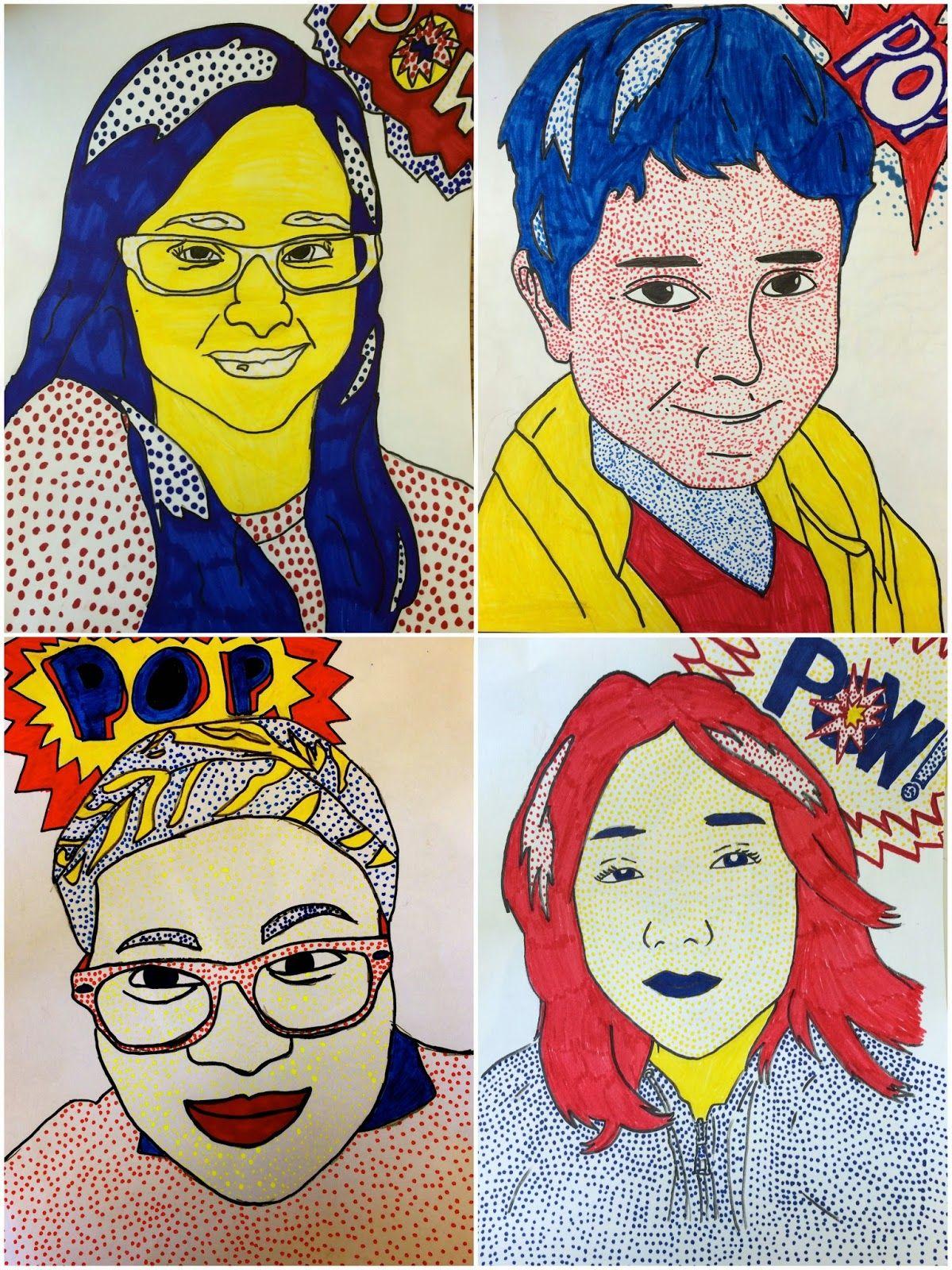 6th Grade Roy Lichtenstein Self Portraits (Exploring Art