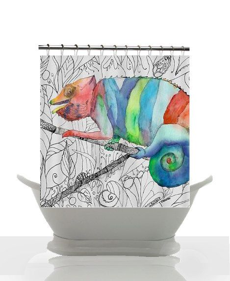 artistic shower curtain chameleon fail by artfullyfeathered yea shower curtains