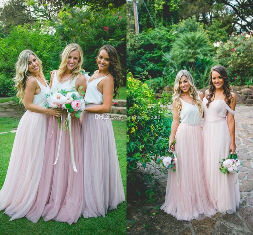 Beach wedding party dresses   Pretty Bohemain Bridesmaid Dresses V Neck Tulle Rose Pink Snow