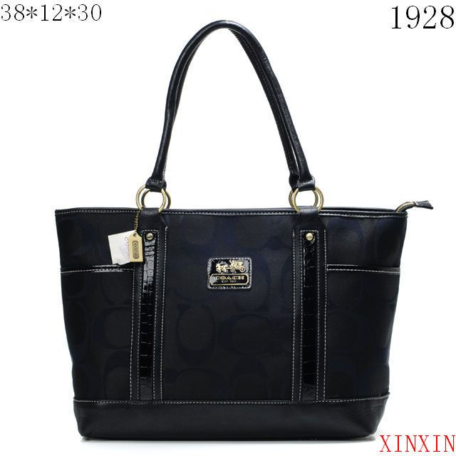 Coach Madison In Signature Large Black Totes Ang Outlet Online