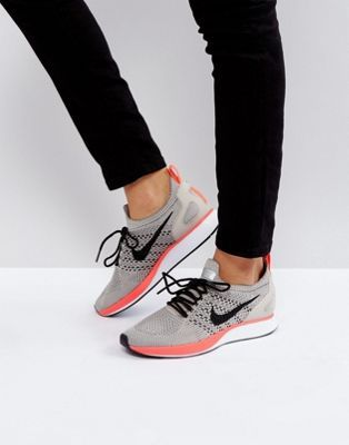Nike Air Zoom Mariah Flyknit Racer Premium Sneakers In Grey And Pink Nike Shoes Girls Nike Air Zoom White Nike Shoes
