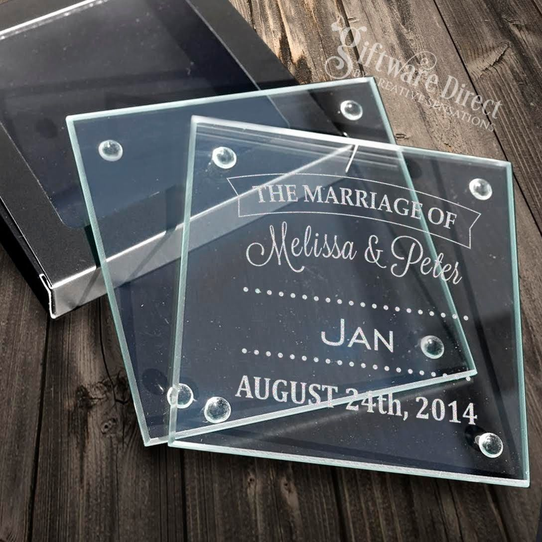100 X Personalised Engraved Glass Wedding Coasters Favour Bomboniere Gift Custom