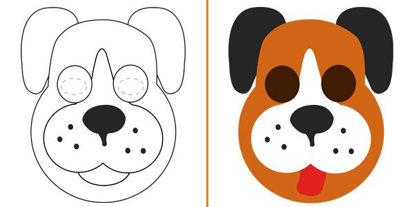 Maschere di animali da colorare e costruire per bambini - Colorazione immagine di un cane ...