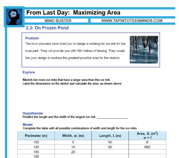 2 2 – Maximizing Area With 4-Sides | Math Task Template MFM1P