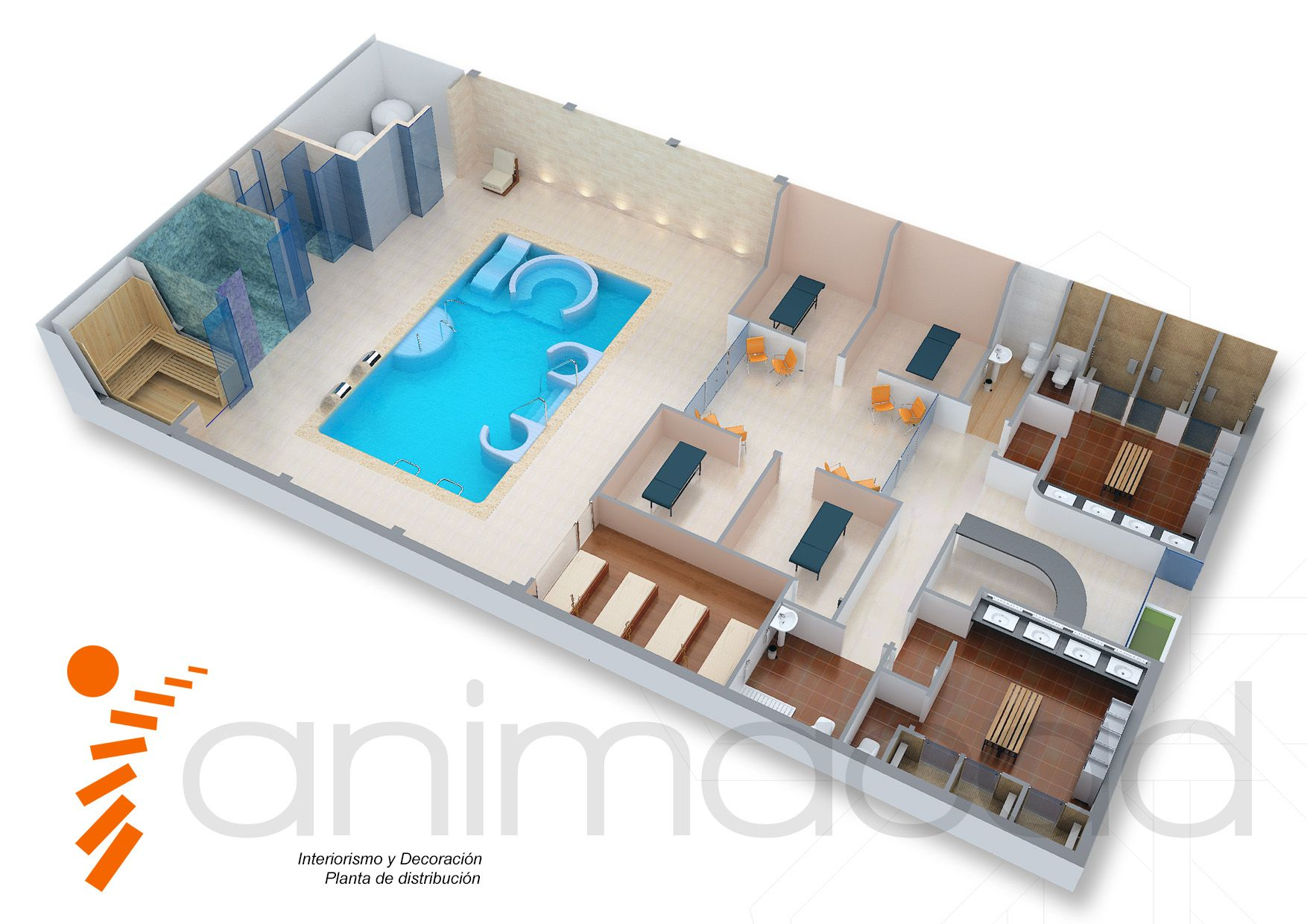 Model 3d interior floor spa planta de distribuci n opcion for 3d salon floor plans
