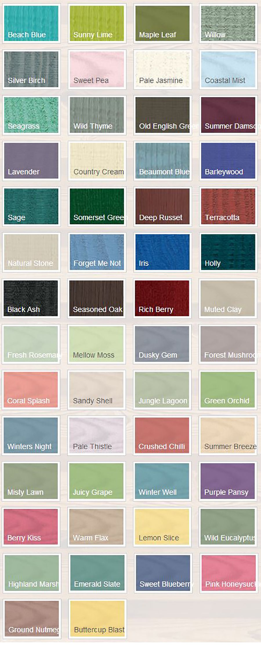 Cuprinol Trade Garden Shades Colour Chart
